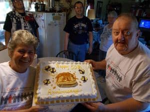 Ed and Loretta celebrating their 50th wedding anniversary.